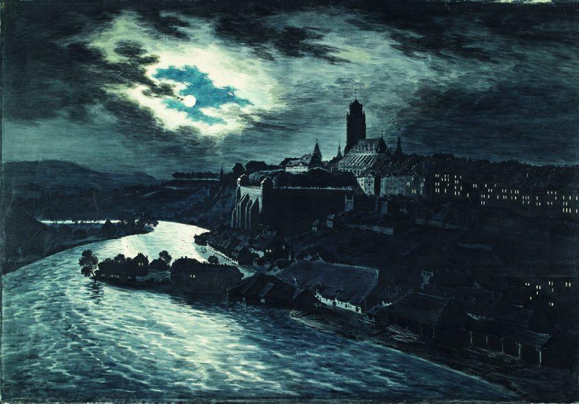 Franz Niklaus König: Die Stadt Bern im Mondlicht, aufgenommen vom Muristalden (um 1810) / Aquarell auf Papier Transparent / 84 x 119 cm