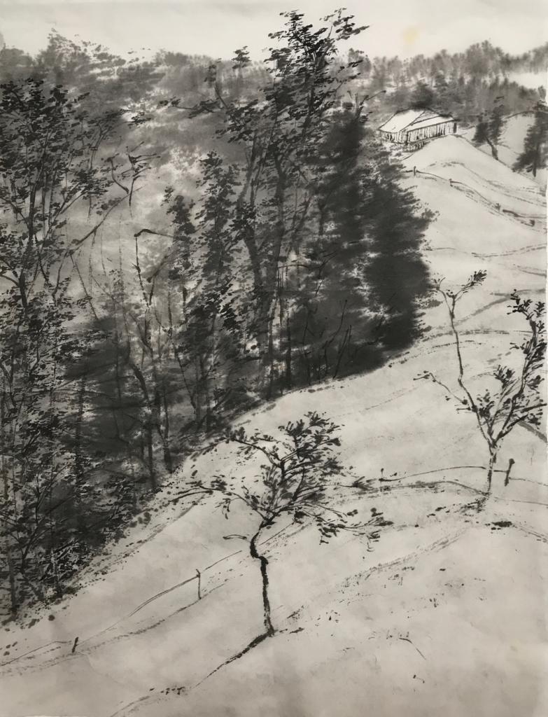 Xu Gang, Skizze aus Habkern No 2, 2017, Tusche auf Reispapier, 34,5 x 45,5